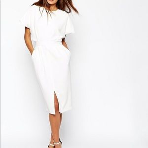 ASOS Wiggle Dress in Crepe with Open Wrap Back